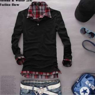 Mens Casual Plaid Shirt Collar T shirt Sweatshirt Black Z1229