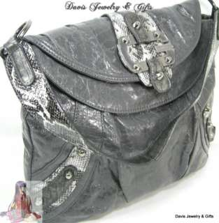 Logo Purse Large Tote Shoulder Hand Bag Grey/Gray Snake Brady $110 NWT