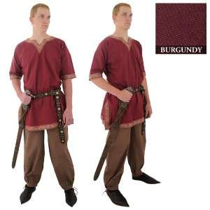 MEDIEVAL VIKING NORSEMAN SAXON Mens Half Sleeve Burgundy COTTON SHIRT