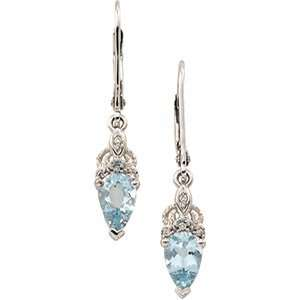 14K White Gold Aquamarine & Diamond Earrings Everything