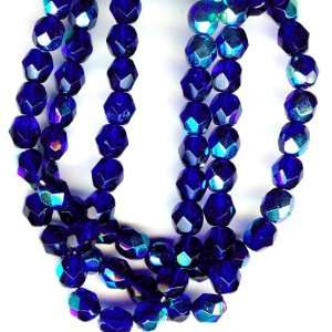 6mm Fire Polish Round Czech Glass Beads   Cobalt Blue AB