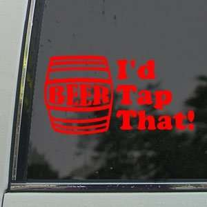 Id Tap That Red Decal Beer Keg Car Truck Window Red