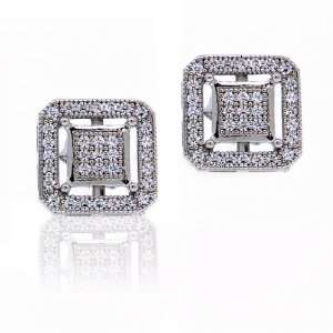 Bling Jewelry Sterling Silver Double Box Pave CZ Stud Earrings 10mm