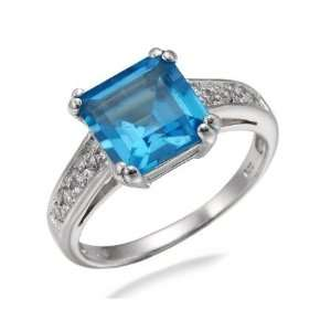 8MM Princess Cut Natural Swiss Blue Topaz Ring In Sterling Silver 2 CT