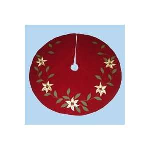 50 Red Poinsettia Flower Christmas Tree Skirt
