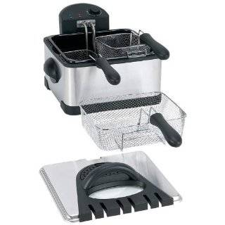 Deep Fryer (STAINLESS STEEL,0) BrylaneHome Triple Basket Deep Fryer