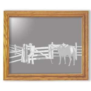 Etched Mirror Cowboy and Horse Art in Solid Oak Rectangle Frame