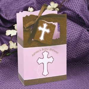 Girl Pink & Brown Cross   Classic Personalized Baby Shower Favor Boxes
