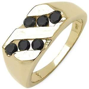 Yellow Gold Plated Sterling Silver Genuine Black Diamond Ring Jewelry