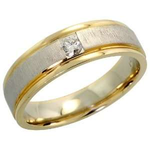 com 14k Two tone Gold Comfort Fit Solitaire Mens Ring, w/ 0.18 Carat