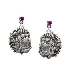 Large Lion   Mascot Hot Pink Swarovski Post Charm Earrings