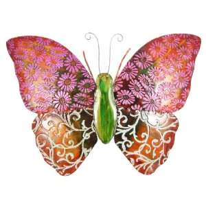 Red / Pink Metal Butterfly Wall Hanging 23 X 17