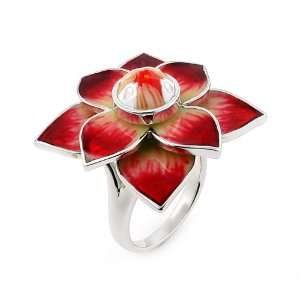 Faceted Red Murano Glass Flower Ring, Size 6 Alan K. Jewelry