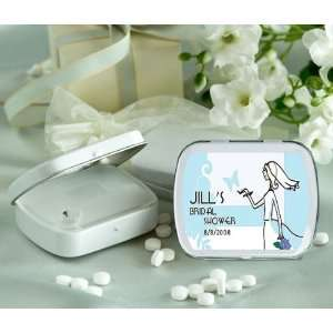 Bridal Theme Personalized Glossy White Hinged Mint Box (Set of 24