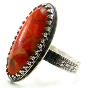 Long Oval Shaped Red Orange Apple Coral Ring, Size 8, Flower Patterned
