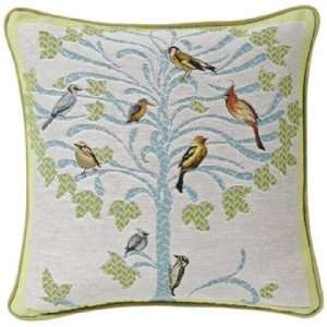 Bird Tree White 19 Square Pillow