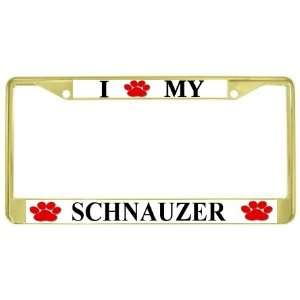 I Love My Schnauzer Paw Prints Dog Gold Metal License