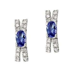 14 kt. Tanzanite & Diamond Earrings White Gold SZUL