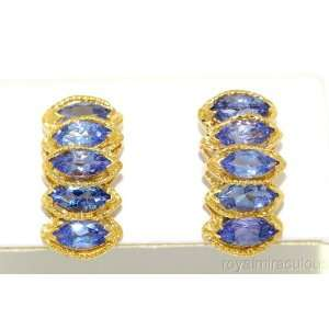 Marquise Tanzanite Earrings 14K Yellow Gold Jewelry