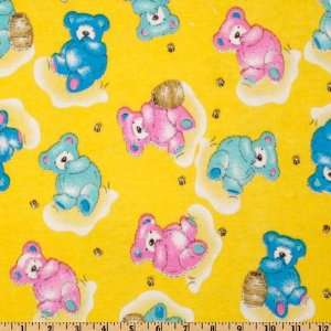 44 Wide Flannel Teddy Bears Pink/Blue/Yellow Fabric By