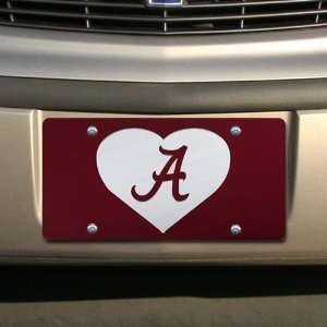 Alabama Crimson Tide Crimson Mirrored Heart License Plate Automotive