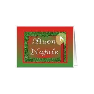 Buon Natale Italian Christmas Candle Holly Red Green Card