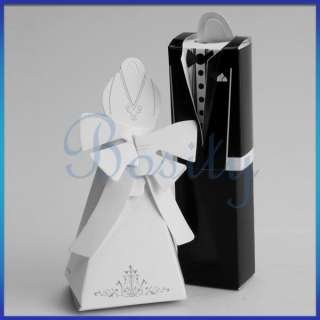 Pair Tuxedo Dress Wedding Bridal Party Favor Candy Gift Boxes Ivory