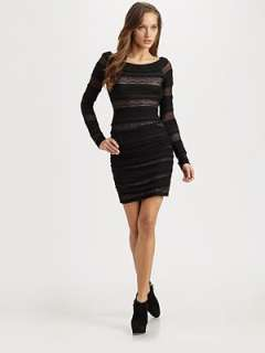BCBGMAXAZRIA   Halle Shirred Lace Dress