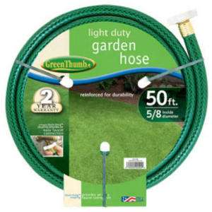 Green Thumb 5/8 Light Duty Garden Hose, 50ft or 75ft