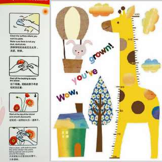 Kid Growth Height Measure Chart Removable Wall Paper Stickers Decals