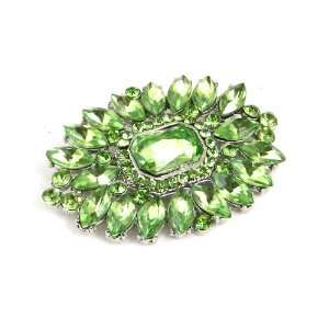 Green Austrian Rhinestone Flower Silver Tone Brooch Pin Jewelry