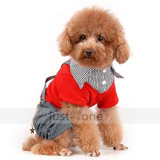 Fashion Cozy Pet Dog Puppy Apparel Clothes Red Shirt jean Stripe Pants